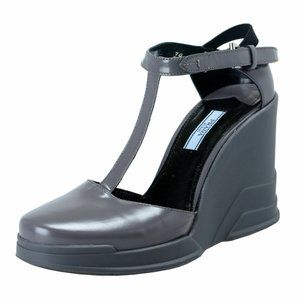 Prada Gray Leather Ankle Wedges T-Strap Sandals